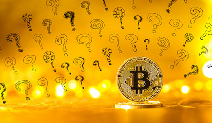 Small question marks with gold bitcoin cryptocurrency coin
