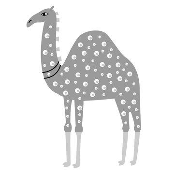 Colorful camel illustration on white background