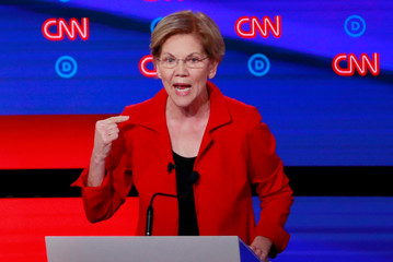 U.S. Senator Elizabeth Warren speaks on the first night of the second 2020 Democratic U.S. presidential debate in Detroit, Michigan, U.S.