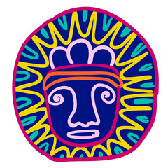Aztec picture simple illustration on white background