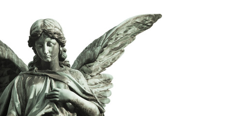 Guardian angel sculpture with open long wings desaturated isolated on wide panorama banner background empty text space. Angel sad expression sculpture with eyes down and hand in front of chest.