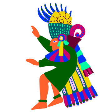 Aztec man simple illustration on white background