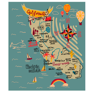 Map of california simple illustration on white background