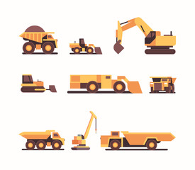 set different heavy yellow industrial machines coal mine production professional equipment mining industry transport concept flat