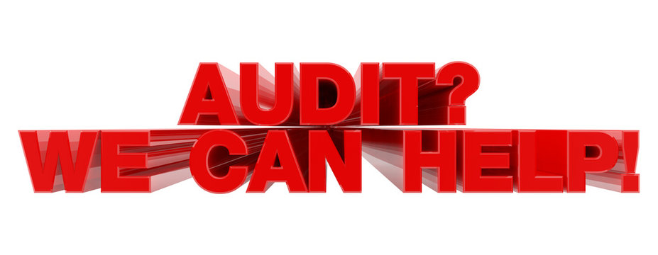 AUDIT ? WE CAN HELP ! red word on white background illustration 3D rendering