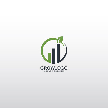 Grow logo, graph creative logo. A startup wealth management company that will invest and manage client money helping them achieve their personal financial goals.