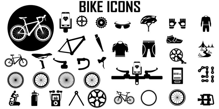 Bike, bicycle, fitness, exercise icon vector.
