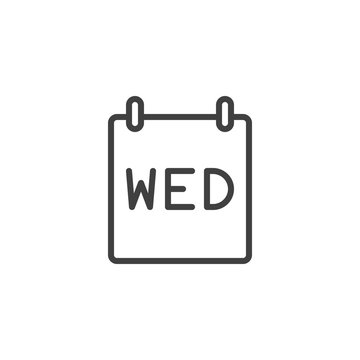 Wednesday calendar page line icon. Planner, agenda linear style sign for mobile concept and web design. Reminder calendar outline vector icon. Time symbol, logo illustration. Vector graphics