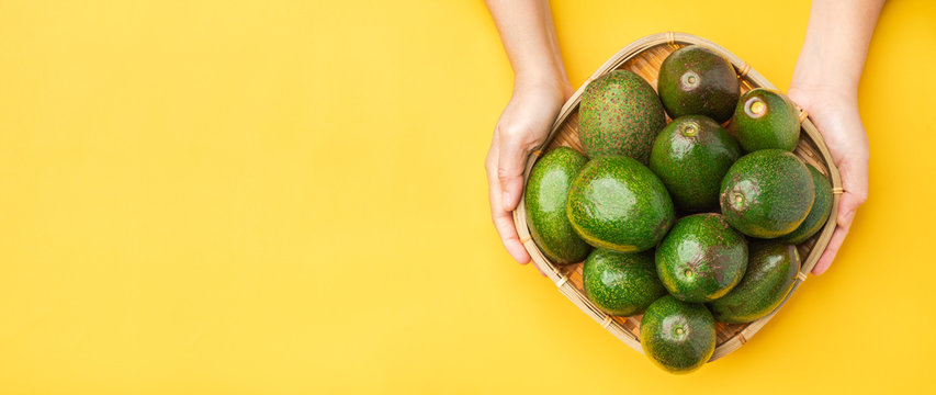 Hand holding organic avocados whole fruit in basket on yellow table background.Healthy super foods for diet.Fresh vegetable from farm.keto food ingredients.banner for advertise.