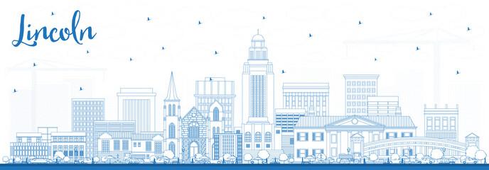 Outline Lincoln Nebraska City Skyline with Blue Buildings.