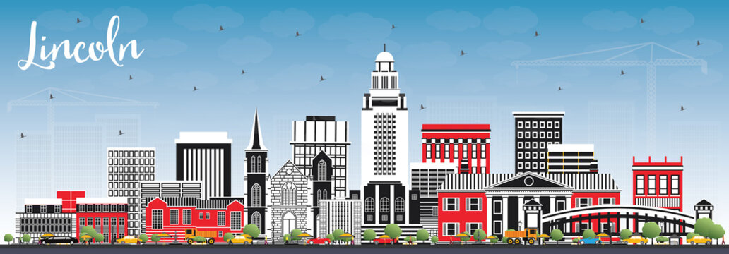 Lincoln Nebraska City Skyline with Color Buildings and Blue Sky.