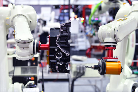 Modern robotic machine vision system in factory, Industry Robot concept .