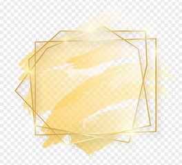 Gold shiny glowing art frame with golden brush strokes isolated on transparent background. Golden luxury line border for invitation, card, sale, fashion, wedding, photo etc. Vector illustration