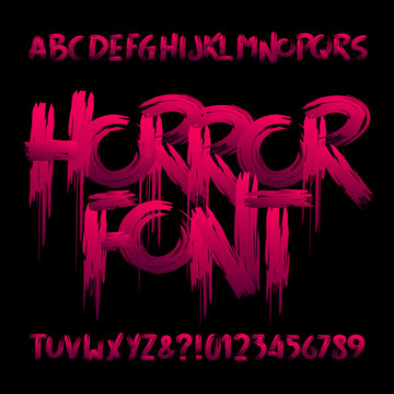 Horror alphabet font. Uppercase handwritten bloody letters and numbers. Stock vector typeface for your design.