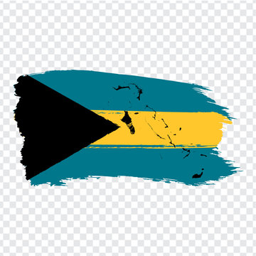 Flag  The Bahamas from brush strokes and Blank map Commonwealth of the Bahamas.  High quality map The Bahamas and flag on transparent background. Stock vector.  EPS10.