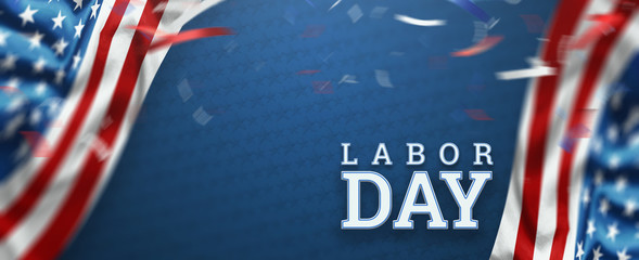 Flyer, Labor day sale promotion advertising. American labor day wallpaper. Discount, Design template. Copy space. 3D illustration, 3D design