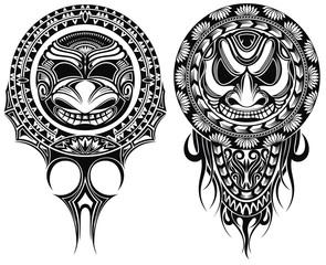 Tribal masks, ornamental elemetns. Vector illustration of  masks