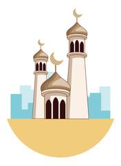Eid mubarak towers with quarter moon