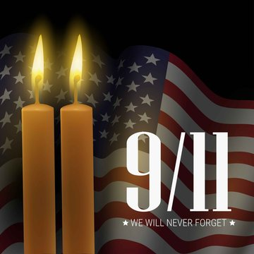 Patriot day. We will never forget. 9/11 memorial day. Vector banner with flag of usa and candles