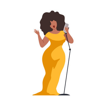 Young Woman in Yellow Evening Dress Singing with Microph Beautiful African American Jazz Singer Vector Illustration