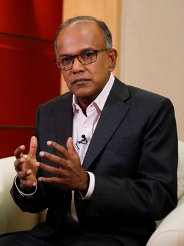 Singapore's Law Minister K. Shanmugam speaks to Reuters in Singapore