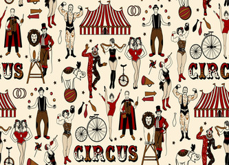 Seamless Pattern with Circus Stars. Vector Illustration.