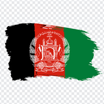 Flag Islamic Republic of Afghanistan from brush strokes. Flag Afghanistan on transparent background for your web site design, logo, app, UI. Stock vector.  EPS10.
