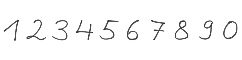 Handgeschriebene Zahlen von 0 bis 9