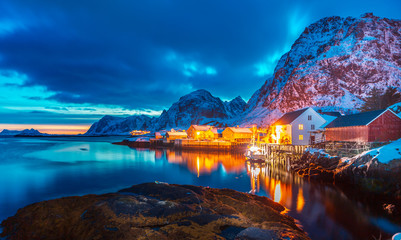 Foto op Aluminium Noord Europa Sorvagen village on Lofoten Islands
