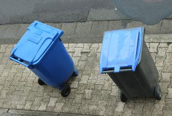Müll, Mülltonne, Mülleimer, zwei, Recycling