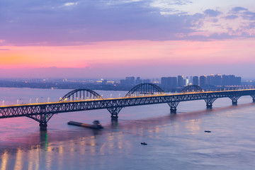 jiujiang combined bridge closeup in nightfall
