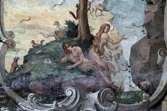 Adam and Eve in the Garden of Eden, fresco on the ceiling of the Saint John the Baptist church in Zagreb, Croatia