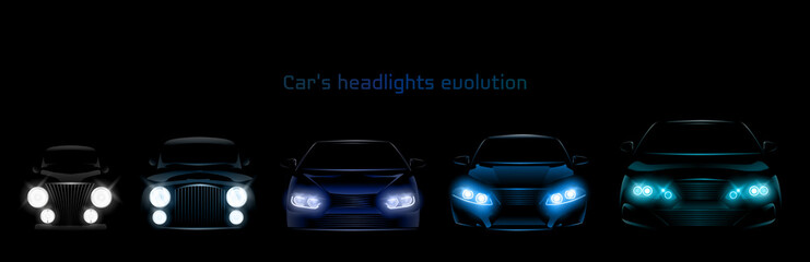 Car headlights evolution, glowing front view headlamps timeline from retro automobile to modern luxury xenon, laser or LED vehicle lamps isolated on black background realistic 3d vector illustration Wall mural