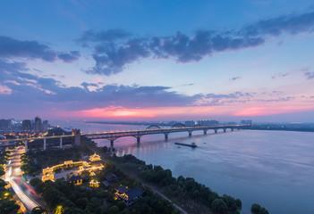 jiujiang yangtze river bridge in night falls