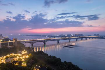 beautiful yangtze river bridge at night in jiujiang