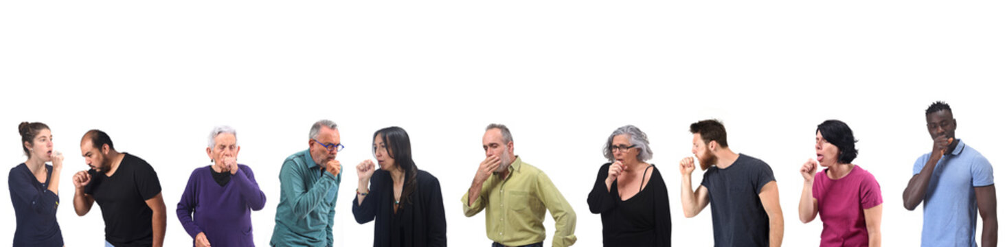 women and men having cough on white background