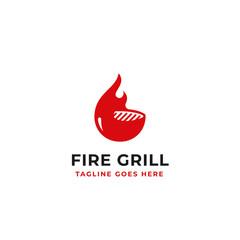fire grill logo design for beef restaurant brand identity concept vector illustration