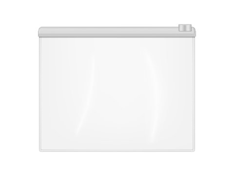 Clear plastic envelope folder bag with zip lock isolated on white background, realistic vector mockup. Transparent file or badge holder, zipper document case - mock-up