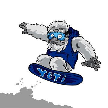 Yeti Snow Board Vector Illustration