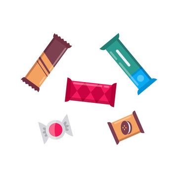 Cute chocolate bar candys set of vector icons. snack collection.