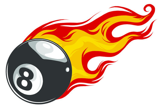 Vector illustration of billiards pool snooker 8 ball with simple flames.