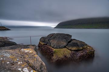 Rinkusteinar rock ultra long exposure in faroe islands