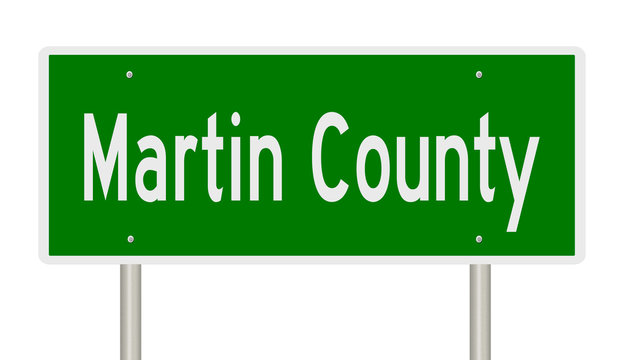 Rendering of a green highway sign for Martin County