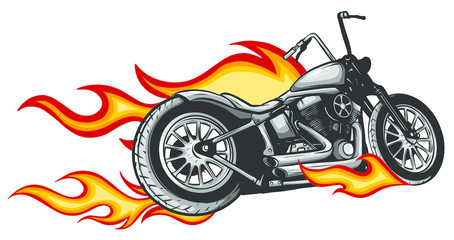 motorcycle with fire and flames vector illustration