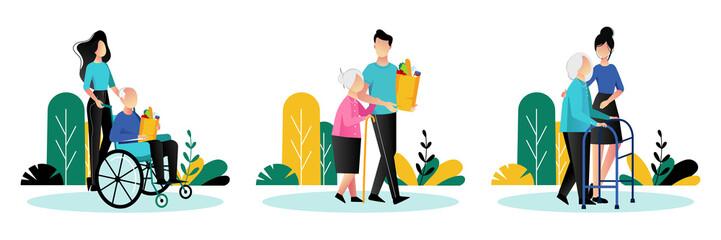 Social workers taking care about seniors people. Vector flat cartoon illustration. Volunteer people help elderly people.