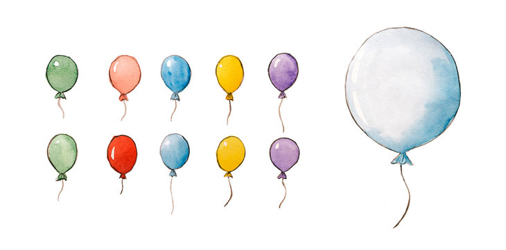 Set of watercolor hand drawn balloons on white isolated background.