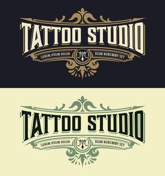 Vintage Tatoo logo template. Vector layered