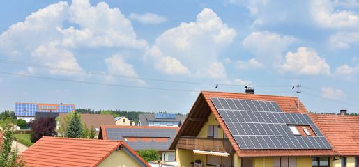 Solardächer im Wohngebiet