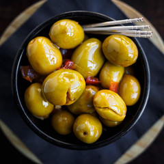 Green spicy olives spanish tapa