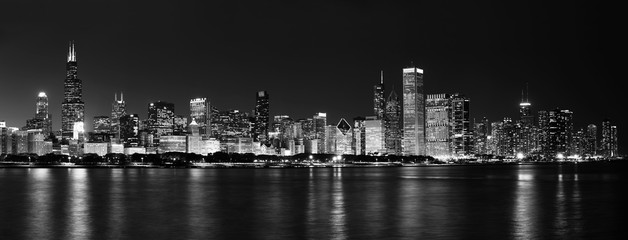 Chicago Skyline at Night Black and White